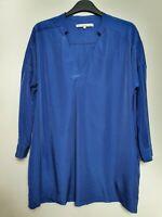 & AND OTHER STORIES (UK Size 10) Royal Blue 3/4 Sleeve Satin Pocket Tunci Blouse