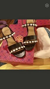 Tory Burch Emmy Embellished Pearls sandals 5.5 NIB