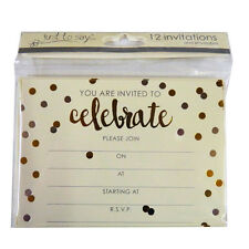 Celebration,Gold Party Invitiation Cards with Envelopes - Pack of 12 - 2 Designs