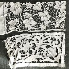 Bas Aube Ancien XIXè Broderie Richelieu 2 Métrages 19thC Religious Embroidery