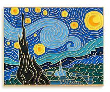 starry night Van Gogh art painting pin badge enamel lapel