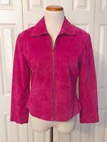 Women's Revue Magenta/Pink Leather Suede Zipper Jacket - Size 4