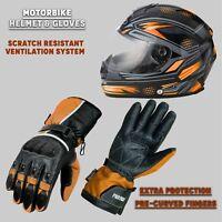 Mens Motorbike Riding Leather Gloves Waterproof & Motorcycle Full Face Helmet CE