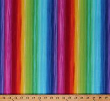 Cotton Prism Rainbow Colors Parallel Stripes Cotton Fabric Print BTY D671.12
