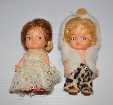 lot of 2 vintage 4 inch tall DOLL EEGEE Company 1960s -rj