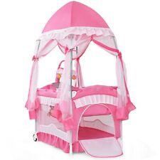 Baby Crib Bassinet Nursery Furniture Infant Portable Bed Newborn Pink Playpen 79