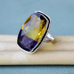 Yellow Purple Ametrine Quartz 925 Sterling Silver Handmade Gift Ring Size 9