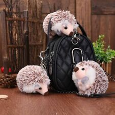 10cm Cute Brown Plush Hedgehog Keychain Anime Bag Mobile Phone Pendant Key Ring