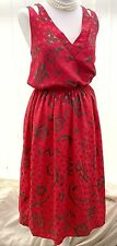 Vintage Day Dress 10-12 Summer 80s Red Sleeveless Tea Sun Silky Strappy