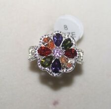 New Pear & Round Cut Multi Stone Topaz Floral Design Ring, SZ 8, Sterling