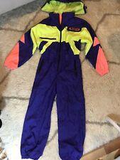 Obermeyer Vintage Neon Color Block Ski Suit Bib Snowsuit Size 12 Juniors