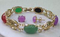 Wholesale Stunning Multicolor Jade Jewelry Bangle Bracelet Earrings Set