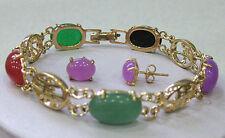 Stunning Multicolor Jade Jewelry bangle bracelet earrings set
