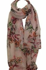 Pink Bird and Floral Print Large Scarf Stole Wrap Shawl Scarves Hijab Head
