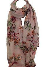 Pink Vogel und Blumenmuster Großer Schal Stola Schal Halstücher Hijab Kopf
