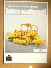 Brochure Défonceuse Porté 175C Bull Dozer INTERNATIONAL IH Mac Cormick Truck LKW