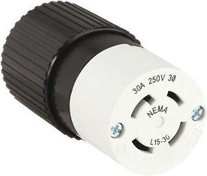 Bryant 71530 NC techspec & # 174; conector, L15 – 30, 30 A, 3PH 250 V AC, Blanco