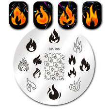 BORN PRETTY Nail Art Stamping Templates Flame Fire Pattern Image Plates Manicure