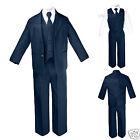 New Boy Baby Toddler Teen Formal Wedding Party Navy 5pc Suit Tuxedo Tie Set S-20