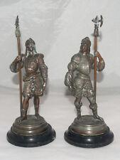 ANTIQUE PAIR OF COPPER CONQUISTADOR ARMORED SOLDIERS STATUES SCULPTURES