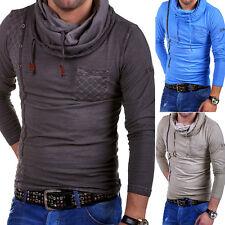 TAZZIO Longsleeve High Neck T-Shirt Kapuzen-Pullover Hoodie Grau/Blau/Beige NEU