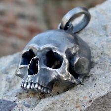 Skull Pendant Sterling Silver 925 Biker Harley Masonic Ring Handmade New Schädel
