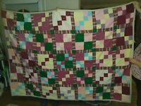 """vintage Hand-quilted patchwork cotton quilt measures 83"""" x 59"""" colorful"""