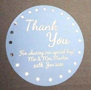 51MM WHITE ROUND PERSONALISED ROSE GOLD FOIL THANK YOU WEDDING LABELS STICKERS