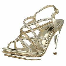 Anne Michelle F10457 Gold Diamante Strap High Heel Evening Sandals
