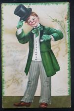 ANTIQUE Saint Patrick's Day Postcard New Haven 1908 Postmark