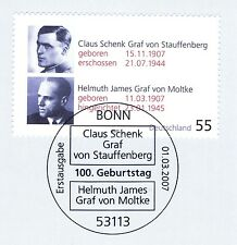 BRD 2007: Stauffenberg und Moltke Nr 2590! Bonner Ersttags-Sonderstempel! 1A 154