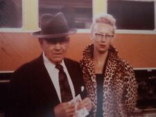 Vintage 1960 Kodak Photo Cool LA Couple At Train Station Man Woman Leopard Print