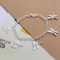Bracelet avec cinq libellules plaqué argent 925 19 cm  mixte homme femme