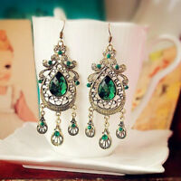 Large Geometric Pattern Long Party Earrings Crystal Water Drop Women