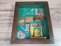 "14"" x 12"" x 2-¼"" Cool wood framed Bar Man Cave Beer Abstract collage 3D Picture"