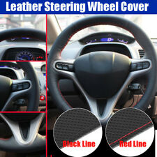Line Leather Steering Wheel Cover For Honda Civic 2005-2011 8th MK8 Red / Black