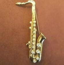 NWOT Saxophone Pin w Austrian Crystals 18K Gold Plated by Cabouchon