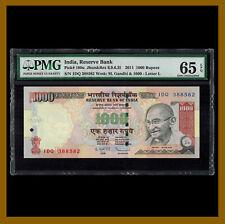 India 1000 Rupees, 2011 P-100u PMG 65 EPQ Letter L Ghandi Unc