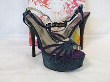 Chinese Laundry 9 M Take Care Giraffe Blue Multi Open Toe Heels New Womens Shoes