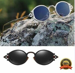 Small Vintage Gothic Steampunk Sunglasses Oval Metal Glasses Unisex Royal Retro
