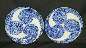 """Antique 19th century Pair Chinese Blue & White Porcelain Saucers Signed & """"Rare"""""""