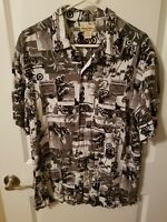 Panama Jack Motorcycle Club Men's Hawaiian Collared Short Sleeve Shirt Size L
