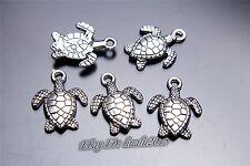 50pcs 16mm Charm 3D Turtle Pendant DIY Jewelry Fit Necklace Bracelet Silver 7031