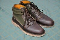 WOOLRICH ABINGTON mens Brown leather/Green wool Boots size 9, UK 8/US 9/EU 42