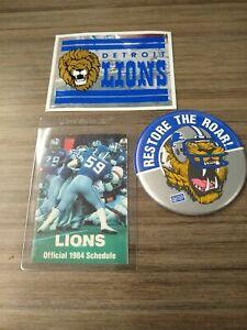 Detroit Lions Vintage 1980s Pin Restore the Roar 1984 Schedule and 1986 Sticker