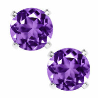 14K GOLD AMETHYST  2.86 CARAT ROUND SHAPE STUD PUSH BACK EARRINGS 5mm 80% SALE!