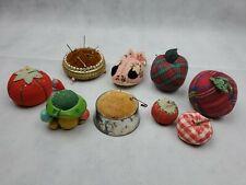 Lot of 9 Vintage Pin Cushions Tomatoes apple mushroom metal Needle Sewing (k)