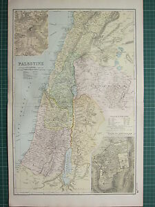1900 LARGE VICTORIAN MAP ~ PALESTINE ~ PLAN OF JERUSALEM SAMARIA JUDAEA GALILEE