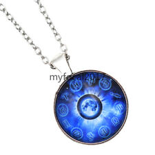 12 Zodiac Earth  Glass Necklace Cabochon Pendant Blue Jewellry for Women Hot New