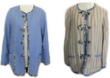 Reversible Jacket Novelty Fabric Denim Tan Stripes Floral Buttons Pockets Koos